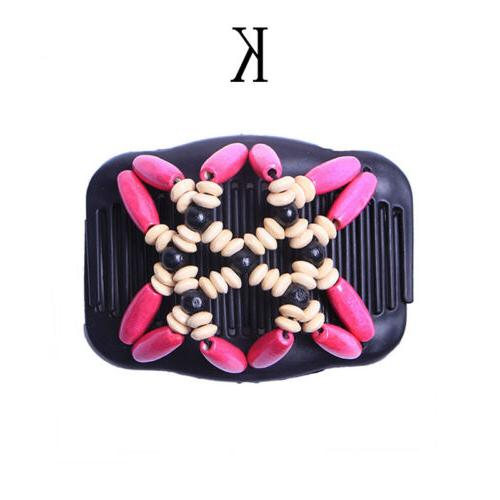 Women Clip Double Slide Wood Beads Hair Comb Access
