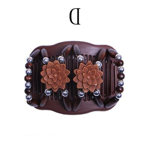 Women Hair Clip Hairpin Wood Beads Comb Access