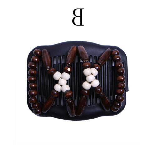 Women Magic Clip Hairpin Double Wood Beads Comb Access