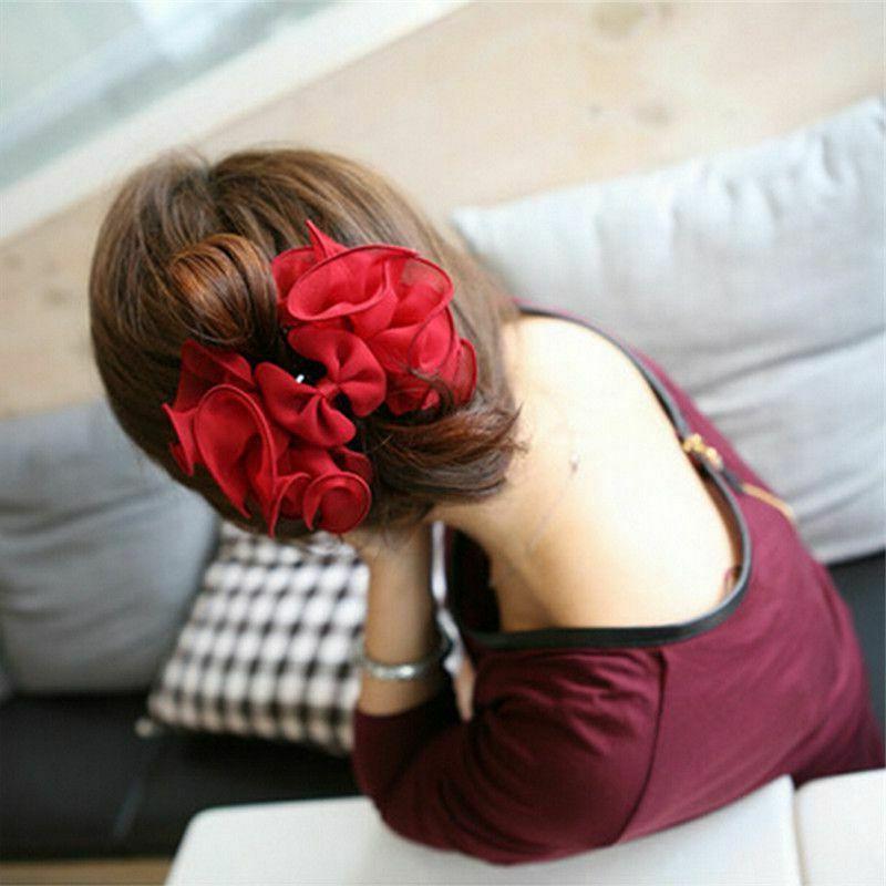 Womens Chiffon Rose Claw Fashion Flower Bow Jaw Clip Barrett