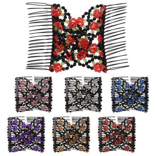 Womens Easy Magic Beads Double Hair Grip EZ Comb Clip Stretc
