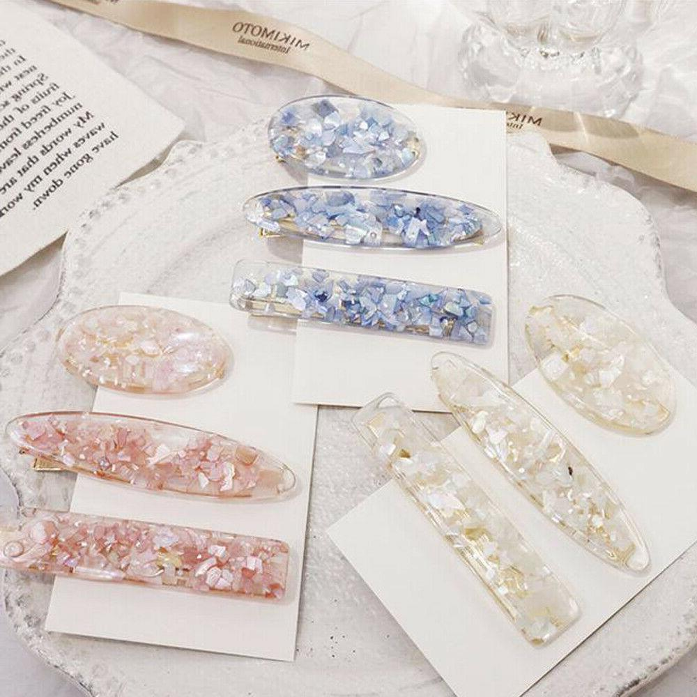 Womens Girl Acrylic Hair Clips Barrette Bobby Pin