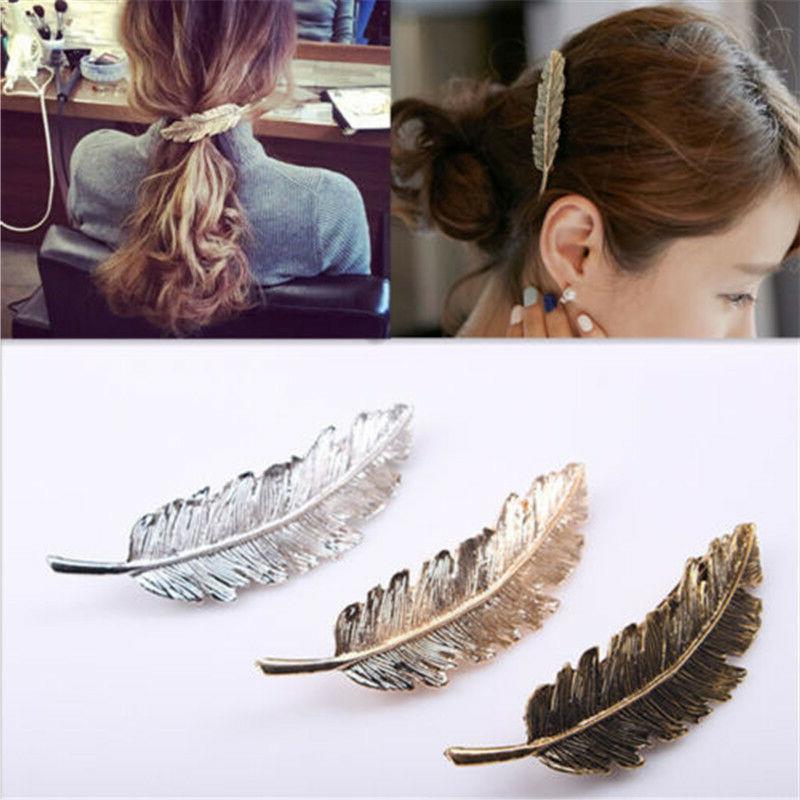 Womens Leaf Feather Hair Girl 3 Fashion
