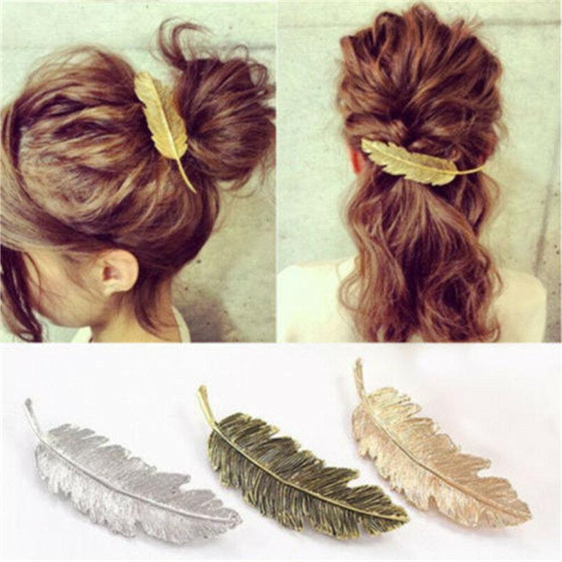 womens leaf feather hair clip hairpin barrette