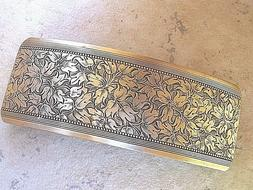 Large Antiqued  Brass Barrette for Thick Hair Genuine French