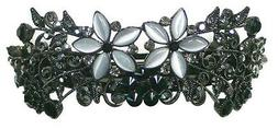 Bella Large Black/White Crystal/Catseyes Barrette Thick Hair