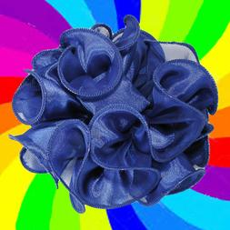 Large Puffy Ruffled Satin Chiffon Hair Bow Claw Jaw Clip - H