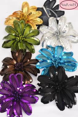 Large Silk Flower Hair Clip with Sequins  6""