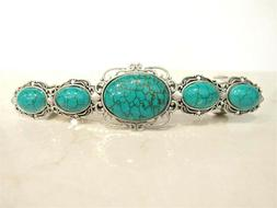 Large turquoise blue stone metal native hair clip barrette f
