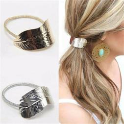 Leaf Ponytail Ring Holder Hair Clip Rope Tie Elastic Headban