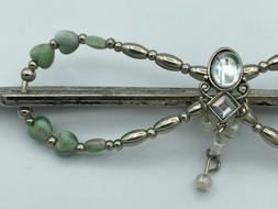 Lilla Rose Flexi8 Hair Clip - Silver + Jade Hearts - Dangle