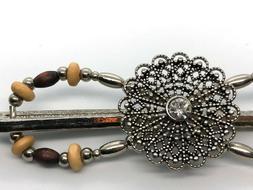 Lilla Rose Flexi8 Hair Clip - Silver, Wooden Beads, Filigree