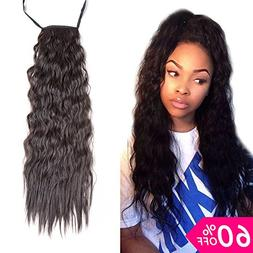 BeautyGrace 1 pack Long Kinky Straight Curly Ponytail Hair E
