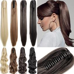 Long Ponytail Claw Clip On Hair Extensions Natural Messy Cur