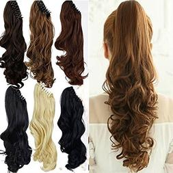 S-noilite Long Thick Claw Jaw Ponytail Big Wave Clip in Pony