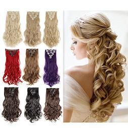 "8PCS 24"" Long Wavy Curly Medium Brown Full Head Clip in Hair"