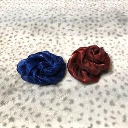 Lot Of 2 Lane Bryant Hair Clips Pins Blue Metallic Flower