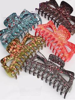 LOT OF 6 JUMBO HAIR JAW CLIP CLAMP SALON GREEN GREY PINK PUR