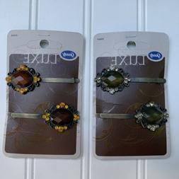 Goody Luxe Hair Clip Barrettes Jeweled Crystal Hair Accessor