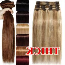 Luxury Clip in Remy Human Hair Extensions Thick Double Weft