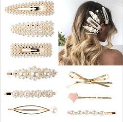 Luxury Women Pearl Hair Clip Snap Barrette Stick Hairpin Bob