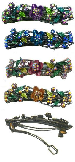 med size barrette flower butterfly sparkly rhinestones