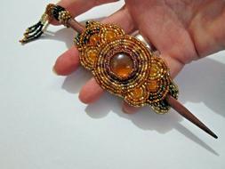medallion Gold purple glass beaded rosette Stick beaded hair