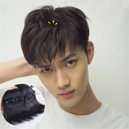Mens New 100%  Real Human Hair Clip in Hair Extension Cover