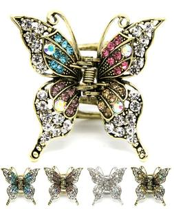 Metal hair claw jaw rhinestones crystal elegant butterfly cl