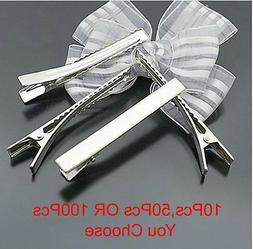 Metal Plain Prong Hair Alligator Clip Pinch Clips Hair Clip