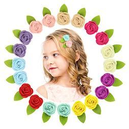 QtGirl Mini Felt Hair Clips Felt Flower Hair Accessories Non