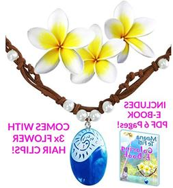 Princess Charms MOANA NECKLACE 3 Flower Clips & E-Book