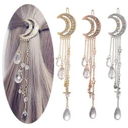 Moon Crystal Rhinestone Beads Dangle Hairpin Hair Clip Women