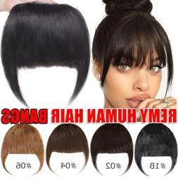Natural 100% Real Human Hair Bangs Extensions Clip In Front
