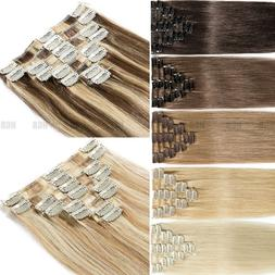 Natural 7PCS Clip In Remy Real Human Hair Extensions Full He