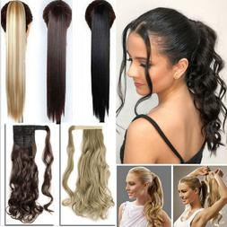 Natural ponytail Clip In as Real Human Hair Extensions Wrap