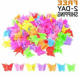 New 100 Packs Assorted Color Mini Butterfly Hair Clips For G
