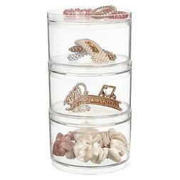 New 3 Stackable Clear Plastic Hair Accessory Containers with