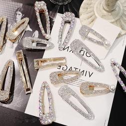 Fashion Girls Crystal Hairpin Hair Clip Snap Barrette Bobby