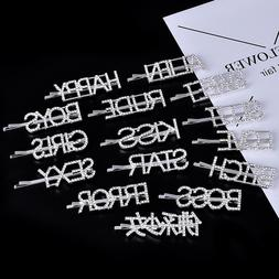 New Hairpins Crystal Shiny Rhinestones Word Letters <font><b