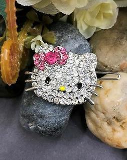 new silver tone hellokitty rhinestone crystal bobby pin hair