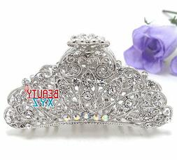 New woman Large metal silver WHITE bling paisley claw clip m