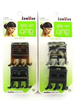 SCUNCI NO SLIP GRIP CLAW HAIR CLIPS - 2 PC.