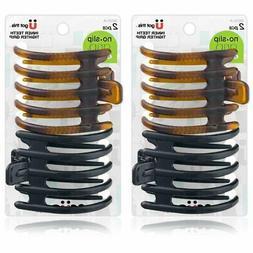Scunci No-Slip Grip Inner Teeth Tighter Grip Hair Clip, 2-Co