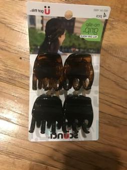 SCUNCI NO SLIP GRIP JAW HAIR CLIPS - TORTOISE/BLACK - 4 PCS.