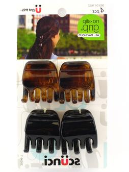 SCUNCI NO SLIP GRIP JAW HAIR CLIPS - TORTOISE/BLACK - 4 PCS.