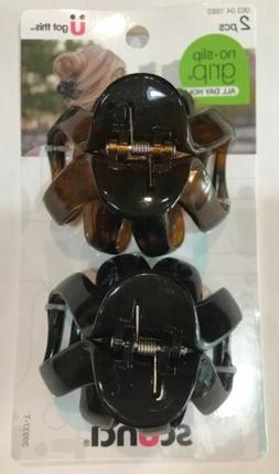 SCUNCI NO SLIP GRIP OCTOPUS CLAW HAIR CLIPS - TORTOISE/BLACK