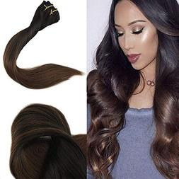 """Full Shine 16"""" 10 Pcs 120 Gram Ombre Clip on Hair Extensions"""