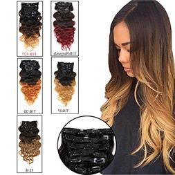 Ombre Hair Extensions Clip in Human Hair Brazilian Virgin Ha