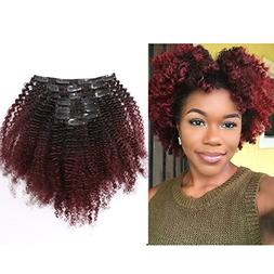 Ombre Remy Clip in Human Hair Extensions Afro Kinky Curly 4B